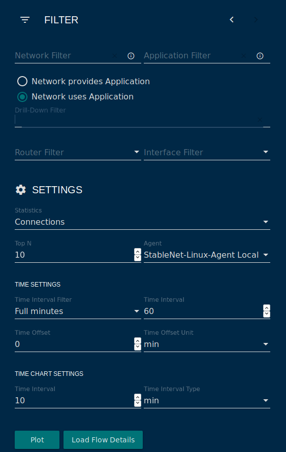 screenshot StableNet® settings menu