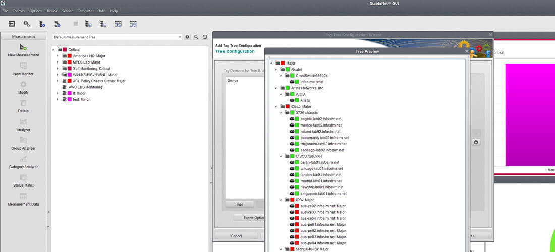screenshot StableNet® tag tree computer menu