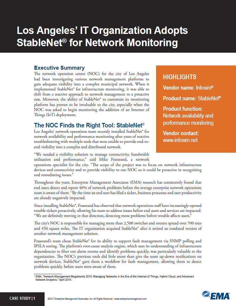Los Angeles' IT Organization Adopts StableNet for Network Monitoring