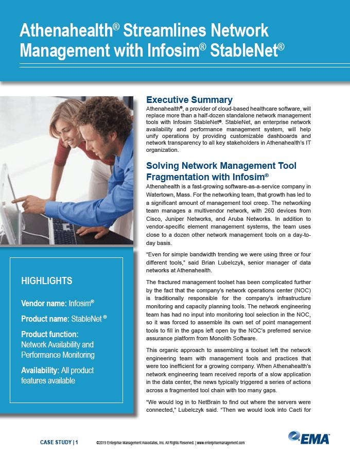 Athenahealth Streamlines Network Management with Infosim StableNet