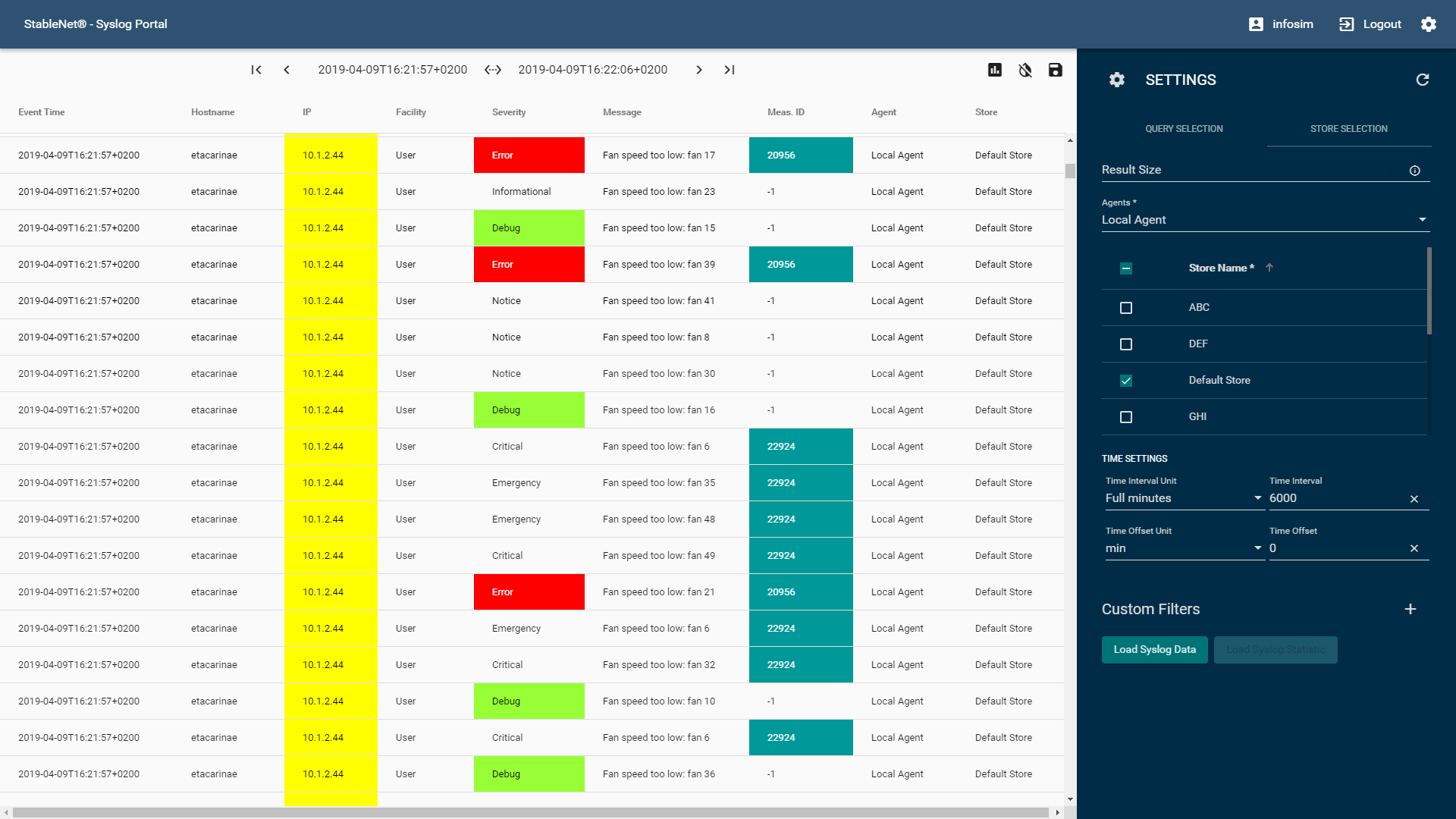 Syslog Portal with syslogs